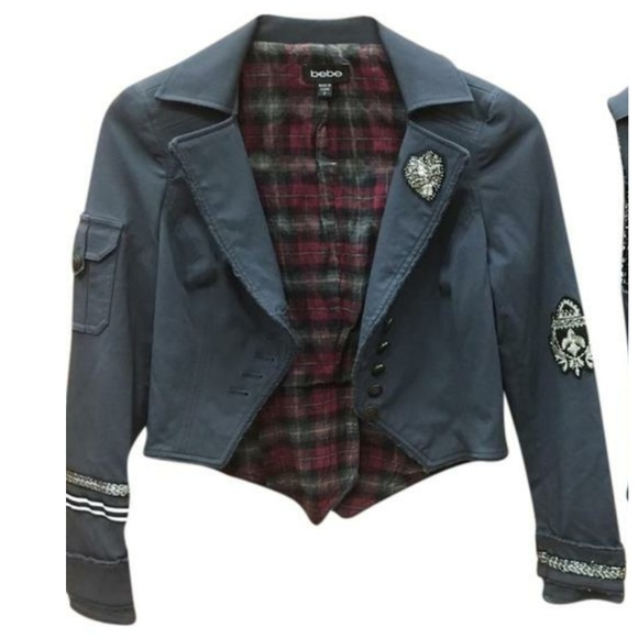 bebe Jackets & Blazers - Bebe military jacket blue grey